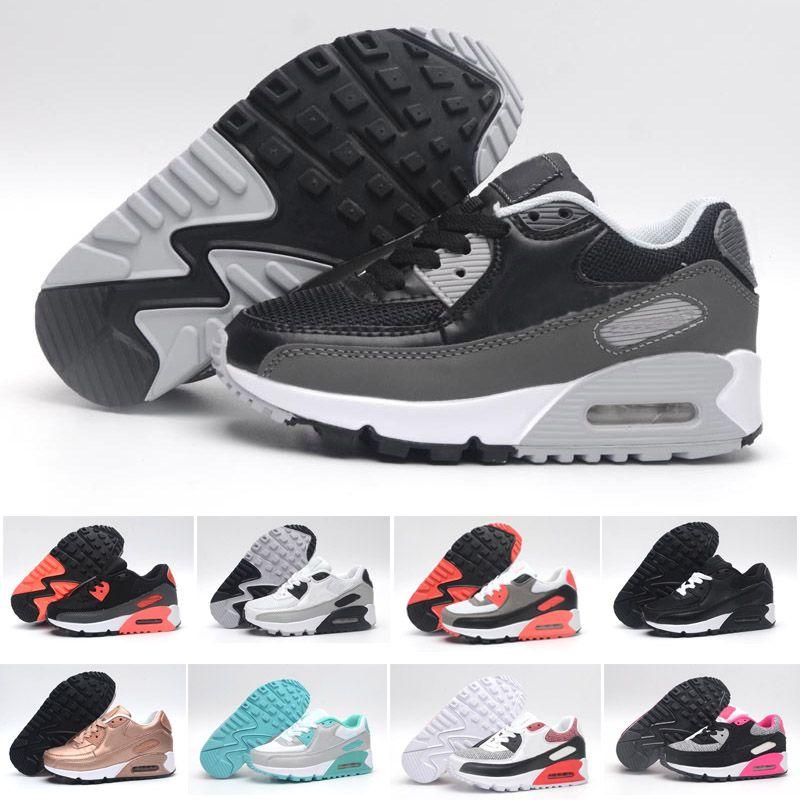 new style 3d896 d7698 Großhandel Nike Air Max 90 Turnschuhe Schuhe Klassische 90 Junge Mädchen  Kinder Kinder Laufschuhe Schwarz Rot Weiß Sport Luftpolster Oberfläche ...