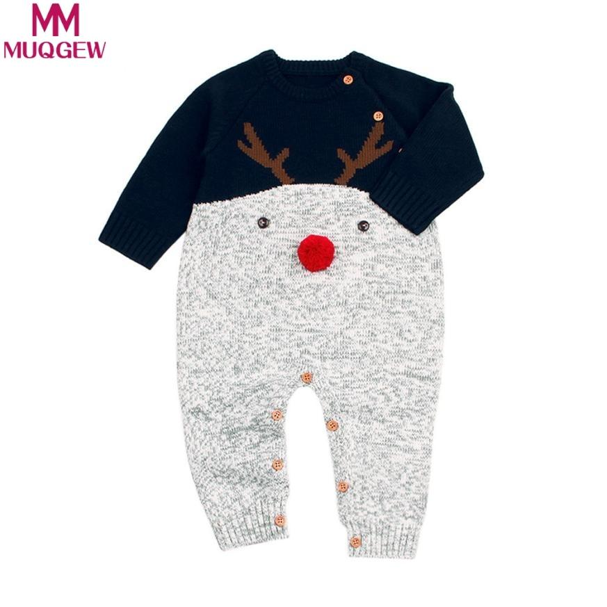 65c7bc22f 2019 MUQGEW Winter Christmas Baby Romper Deer Toddler Boys Girls ...