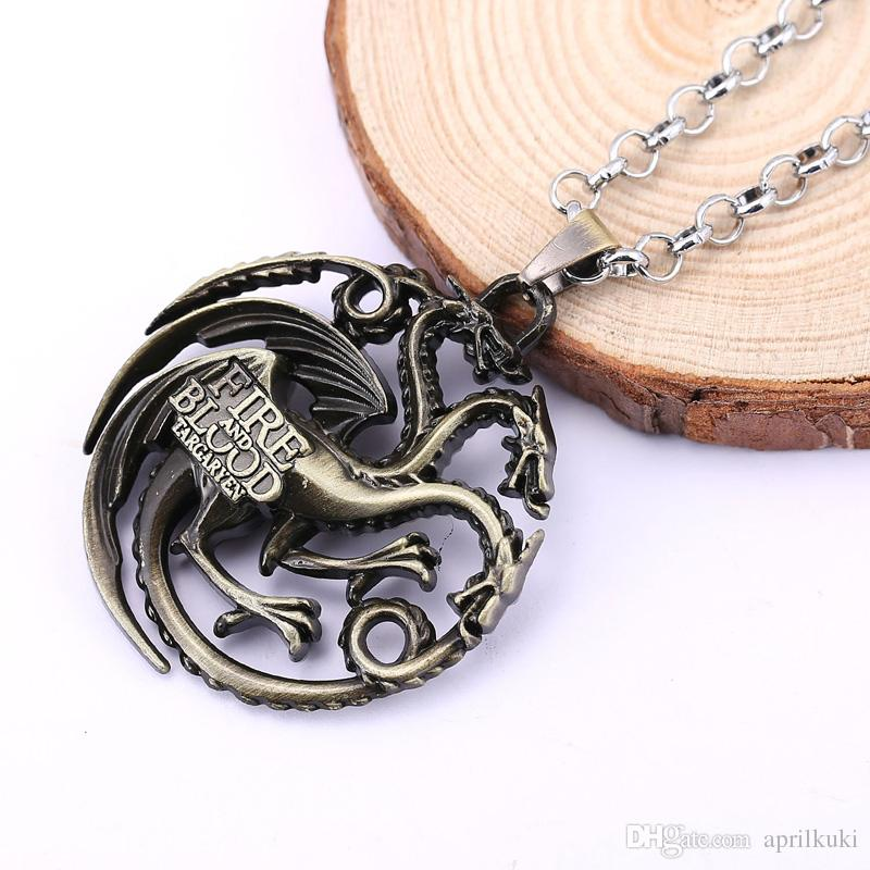 Game Of Thrones Pendant Necklace Song of Ice House Lannister Targaryen Daenery Dragon Dragonlord Logo Vintage Gaes Necklace Movie Jewelry