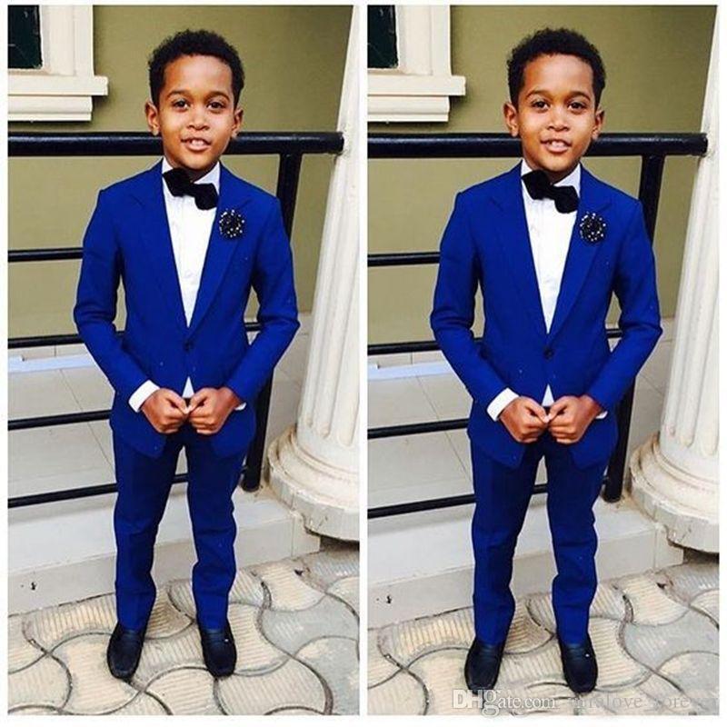 Königsblau Kinder Formelle Kleidung Hochzeit Bräutigam Smoking Blume Jungen Kinder Party Anzüge Zwei Stücke Jacke + Pants
