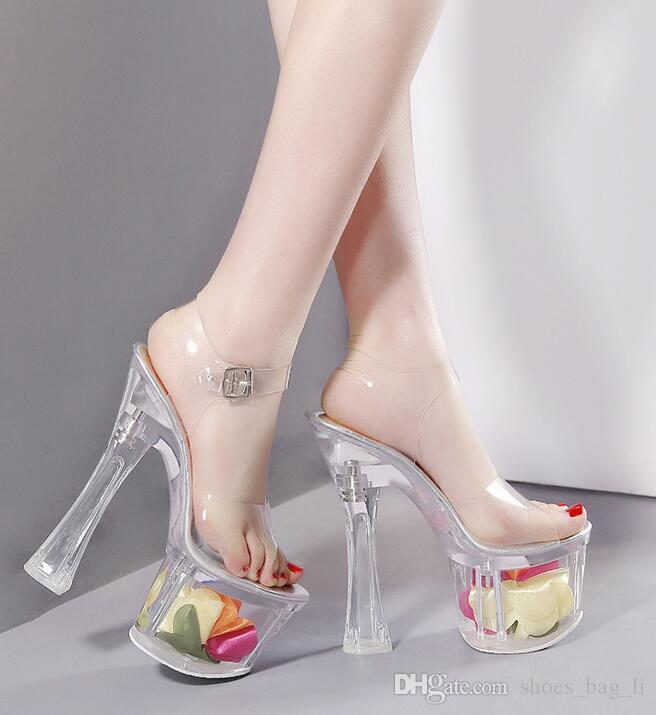 Summer new fashion 18CM Transparent high-heeled women's shoes waterproof transparent word with coarse heel sandals fashion style