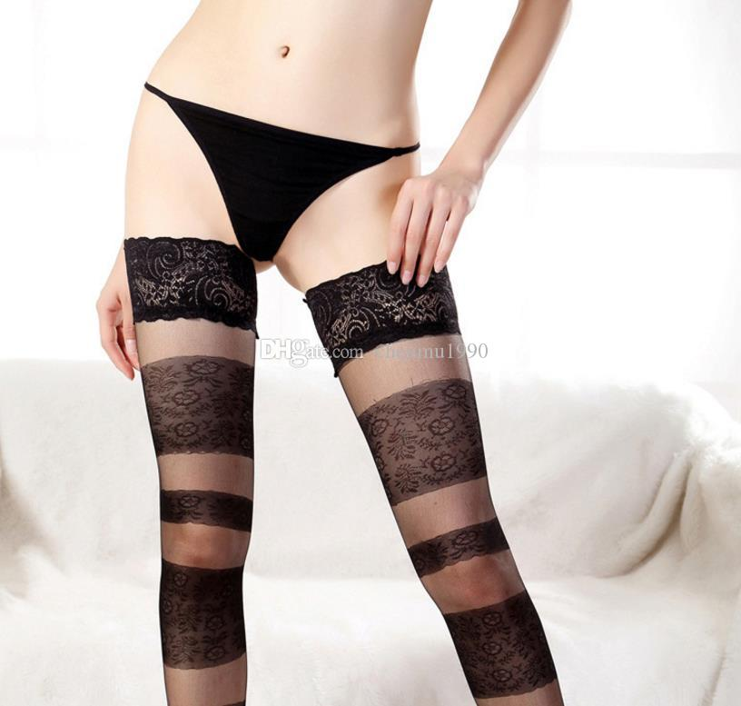 8abbae863075c 2019 Women Sexy Sheer Stockings Tights Lace Top With Flower Pantyhose High  Quality Elastic Vintage Thin Tights Anti Slip Silicone From Chenmu1990, ...