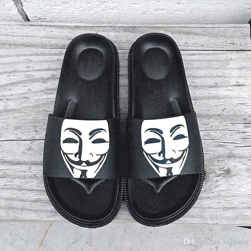Marque designer pantoufles hommes masque visage souriant pantoufles extérieur antidérapant en caoutchouc confortable loisirs pantoufles en plein air plage tongs
