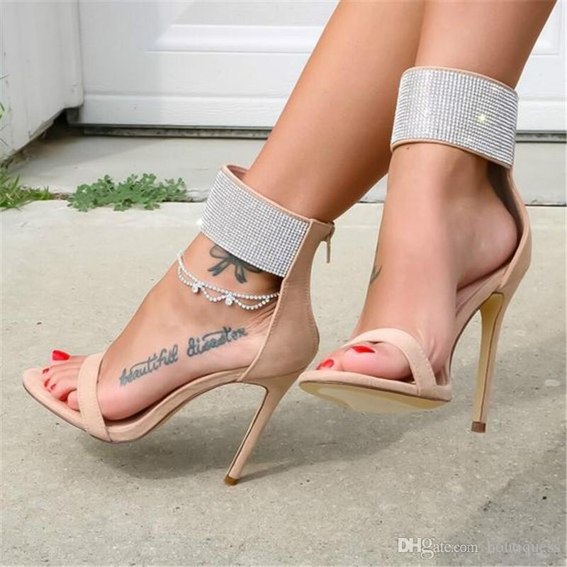 073bb833d966b9 Women Shoes Sexy Wedding Party Dress Sandals Nude Red Rhinestone  Embellished Stiletto Heel Ankle Wrap Open Toe With Zipper Tall Gladiator  Sandals Tan Wedges ...