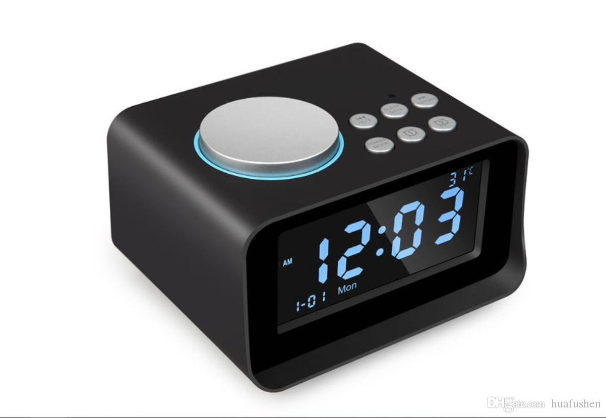 Bluetooth Speaker With Two Alarm Clock And Super Large LCD Screen Display,The Temperature Display, FM Radio Aux Interface Plug-in electric P