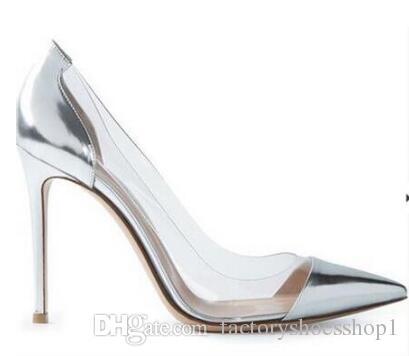 2018 Lackleder Weißgold Splitter Nude Thin High Heel Pumps Plexiglas Klar PVC Party Schuhe zeigte semi-transparente Sapatos feminin