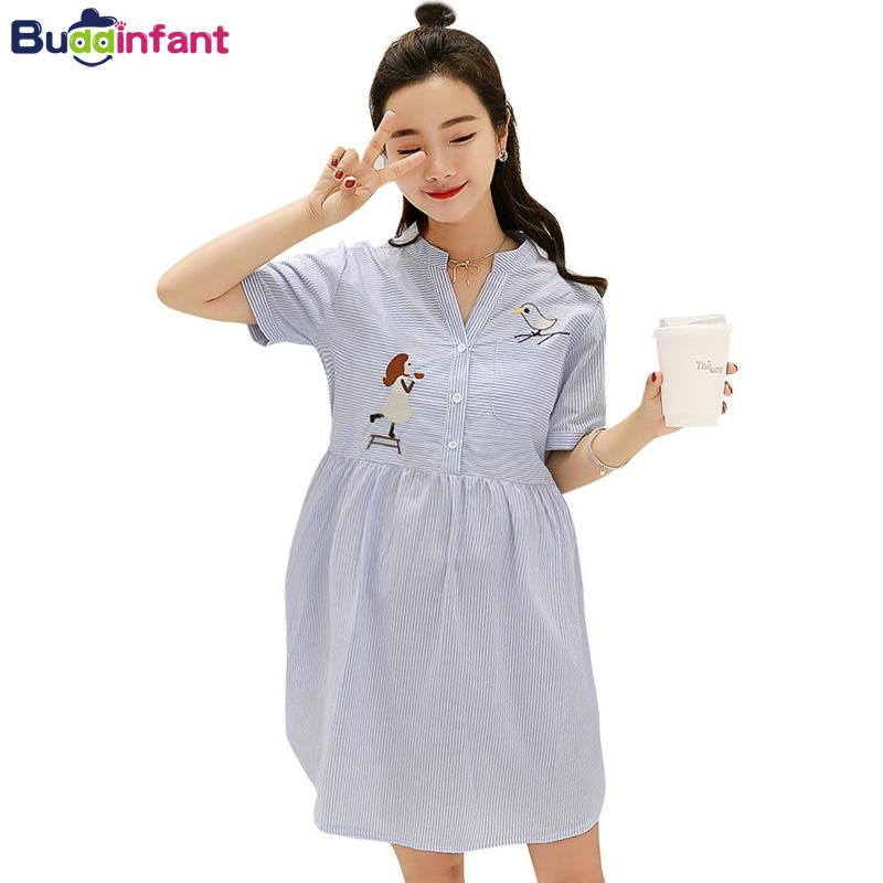 a9686b5f414f2 2019 Pregnancy Dress Blue And White Striped Elegant Buttons Maternity  Dresses Birds Girl Pattern Summer Clothes For Pregnant Dress From  Paradise02, ...