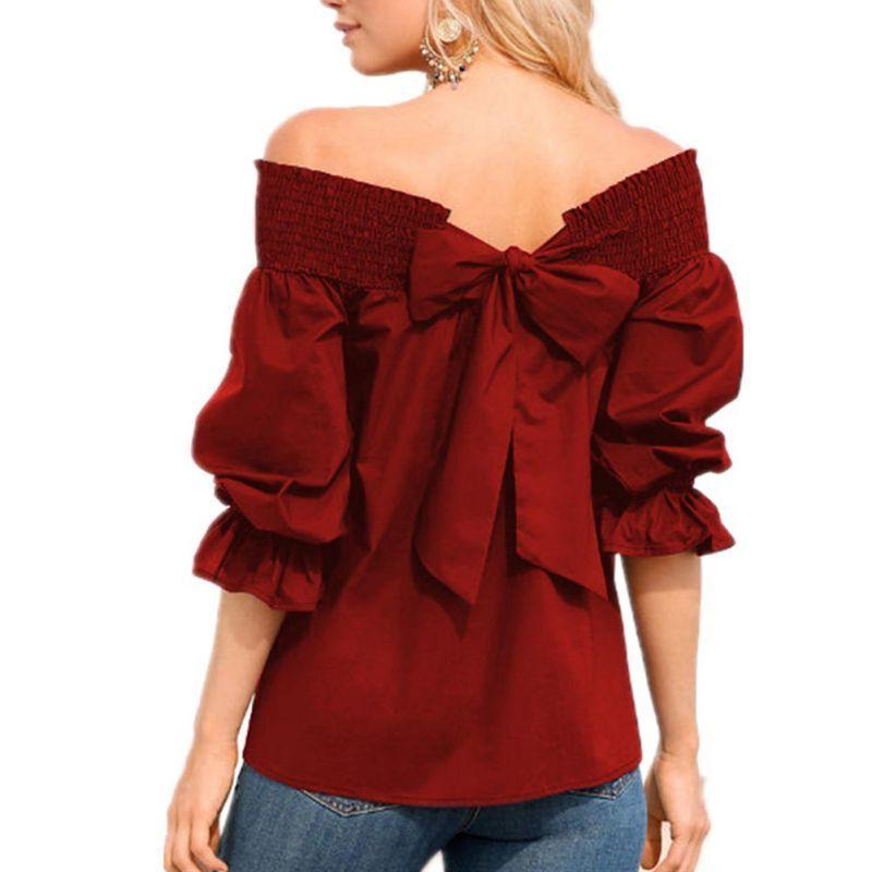 a706bde70ba Sexy Off Shoulder Back Bowknot Blouse Fashion Strapless Women Ruffle Sleeve Pleat  Tops Shirts Casual Loose Blusas Online with $28.11/Piece on Illusory09's ...