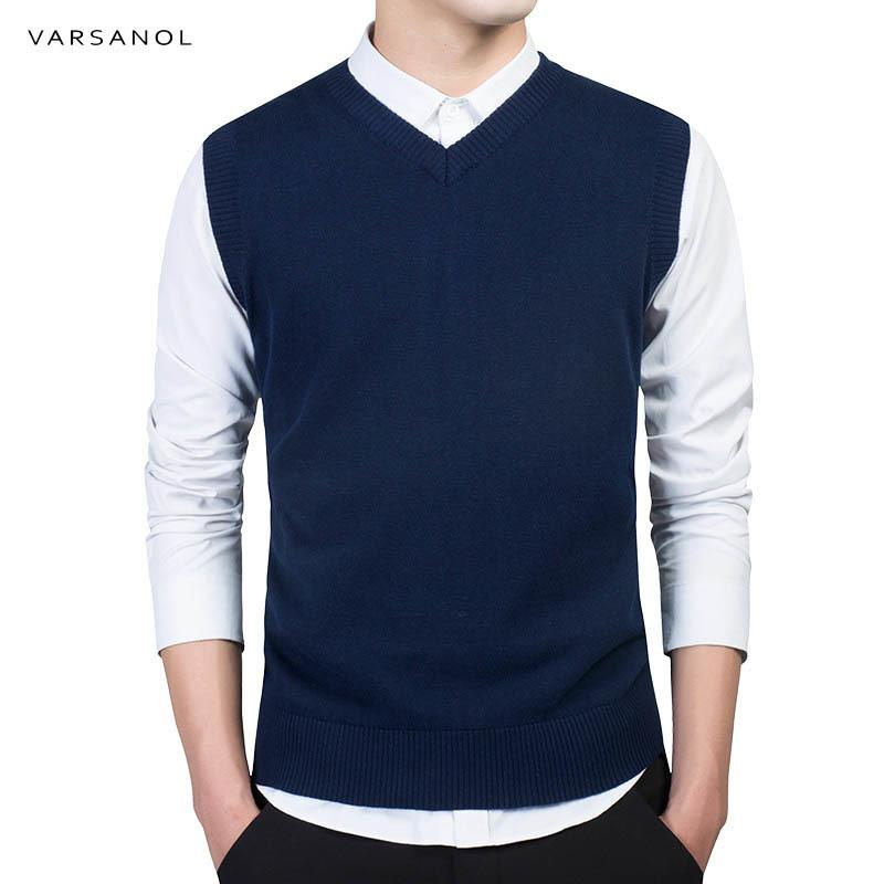 Varsanol 2018 New Men's Sweaters O-Neck Autumn Winter Fashion Brand Clothing Slim Men Pullover 100% Cotton Knitted Sweater Vest