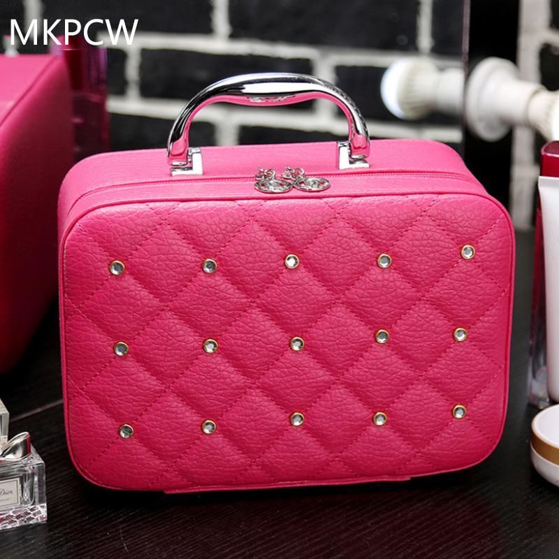 ea3f29227842 2019 2017 Luxury Women Bling Cosmetic Case Rivet Rhinestone Makeup Box  Professional Tote Cosmetic Bag Beauty Case For Beignners From Fenxin