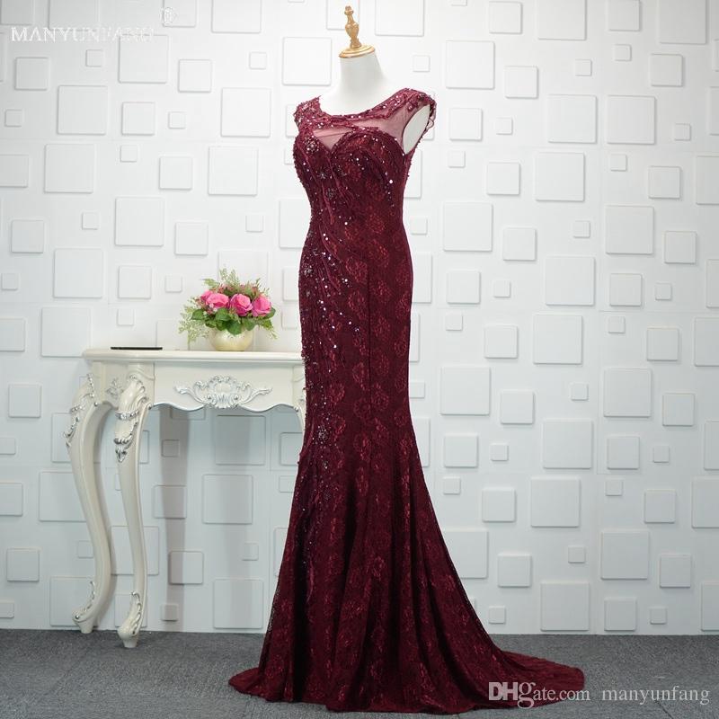Zarif Capped Kollu Abiye Kat Uzun Üst Kalite Pullarda Dantel Seksi Akşam Parti Elbise Custom Made Ucuz Abiye