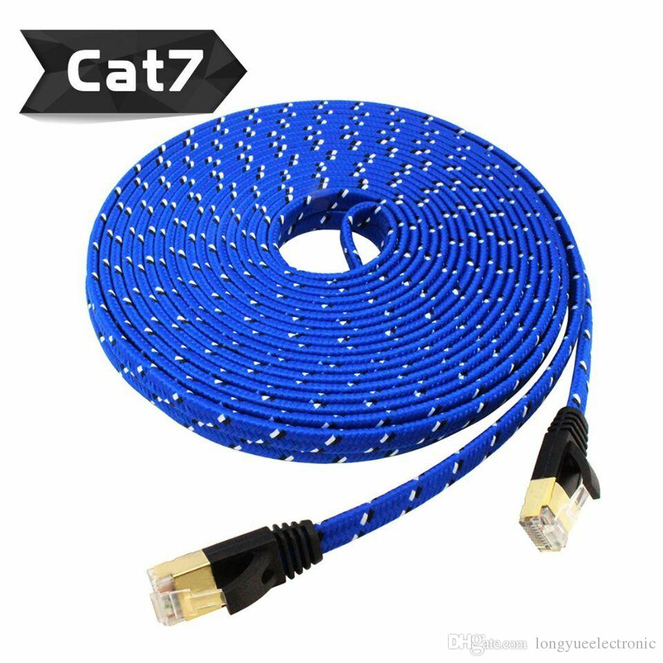 BLUE/WHITE COLOR 0.5m1m1.5m2m CAT7 RJ45 Patch flat Ethernet LAN Network Cable For Router Switch gold plated