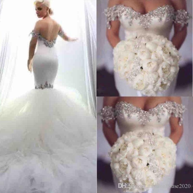 d2f4e66bb96 2019 Hot Elegant Sweetheart Mermaid Wedding Dresses Off The Shoulder With  Shining Beaded Satin Tulle Backless Plus Size Formal Bridal Gowns Beach  Wedding ...