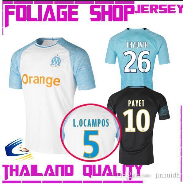 Top Thai Quality 1819 Olympique De Marseille White Home Soccer ... 4057ca2ec