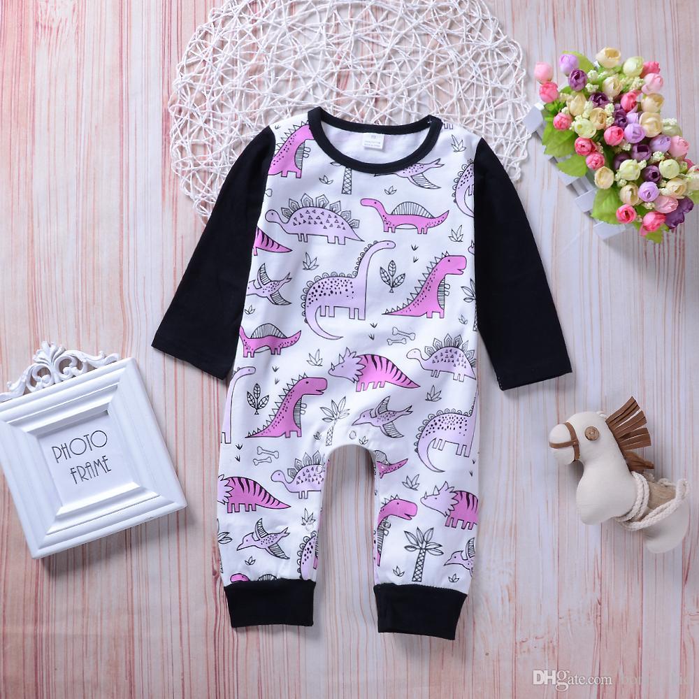 682fe8942 2019 Baby Long Sleeve Dinosaur Romper Baby Boys Girls Jumpsuit Pink ...