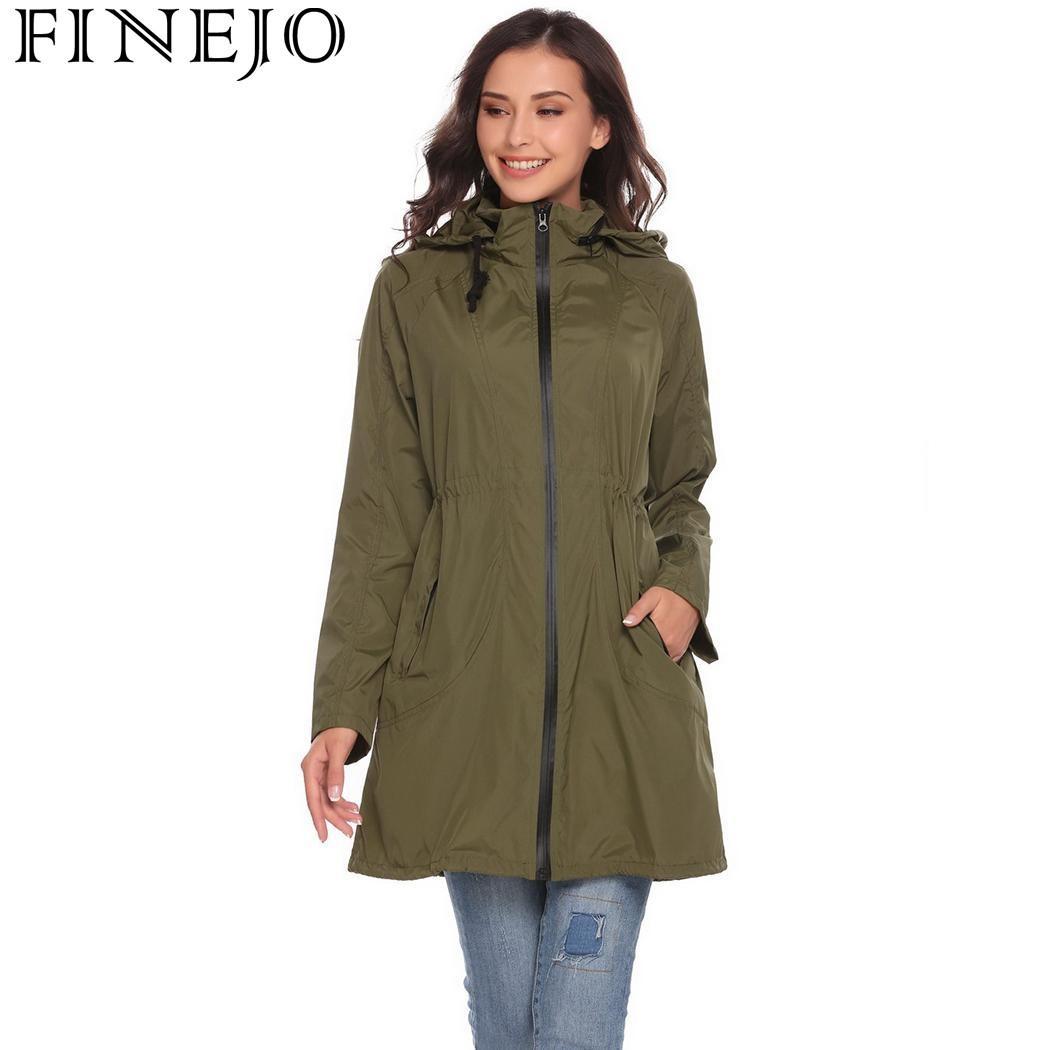FINEJO Autumn Women Trench Coats 2017 Casual Lightweight Travel Waterproof Raincoat Hooded Drawstring Hem Trench Outerwear Coats