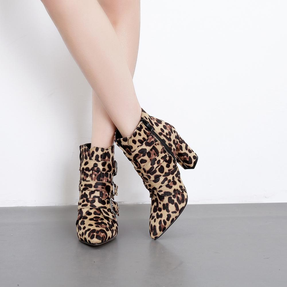 abae4197662 Fashion Leopard Print Women S Boots 2018 New Arrival Zip Buckle Pointed Toe  Shoes High Heels Females Botas Plus Size Boots Online Leather Boots From ...