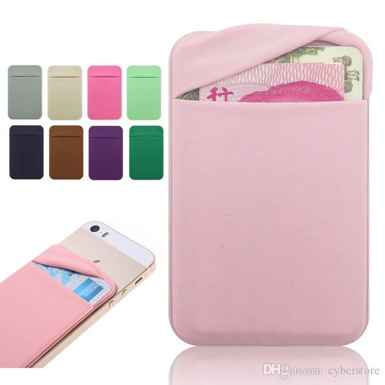 new arrivals 12039 9d59d Phone Back Credit Card Holder Stick on Wallet Discreet ID Lycra Spandex  Cards Sleeves 3M Adhesive Gadget For iphone ipad cellphone Case