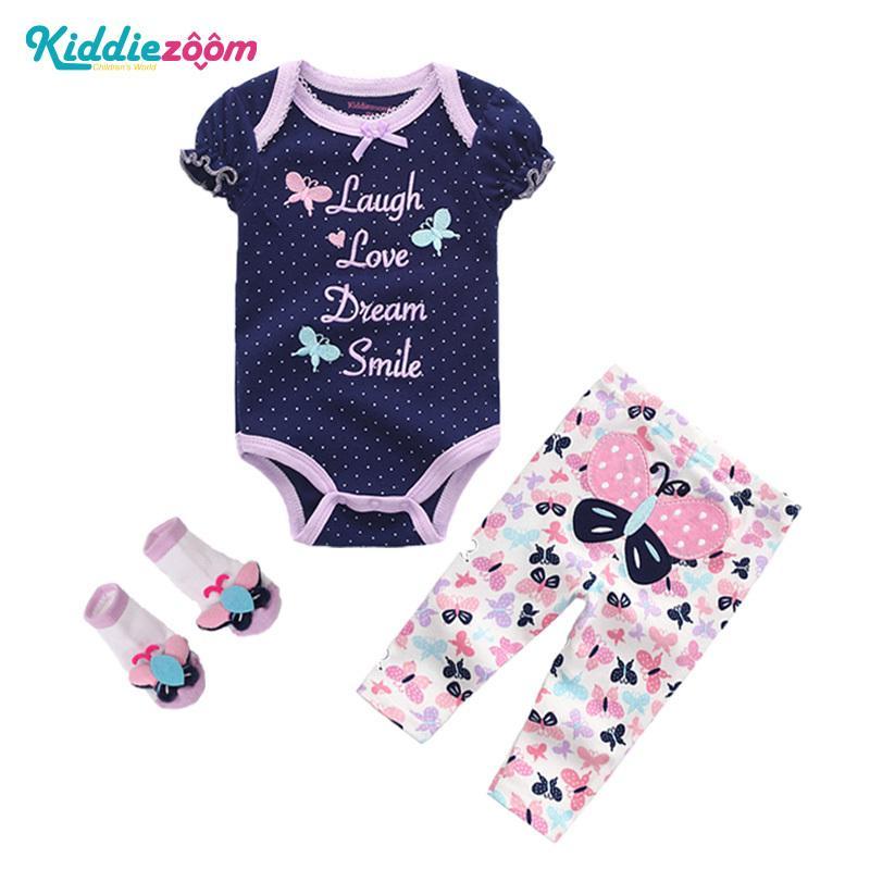 Compre Conjuntos De Recém Nascidos Do Bebê Meninos Conjuntos De Roupas De Bebê  Bebê Menina Vestido De Verão Macacão Bodysuits + Calças + Meias Conjunto ... 842f60d21b6