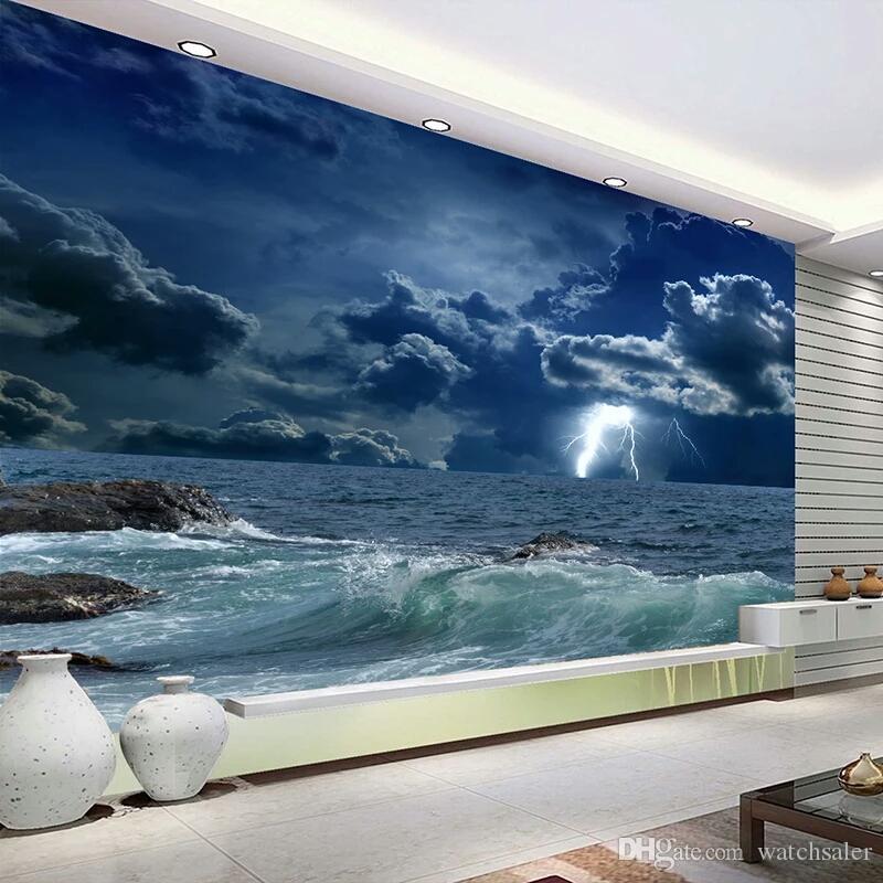 12c47bad69ef Benutzerdefinierte Fototapete 3D Ozean Wellen Blitz Dunkle Wolke Landschaft  Wandbild Tapete Wohnzimmer Schlafzimmer Papel De Parede 3D