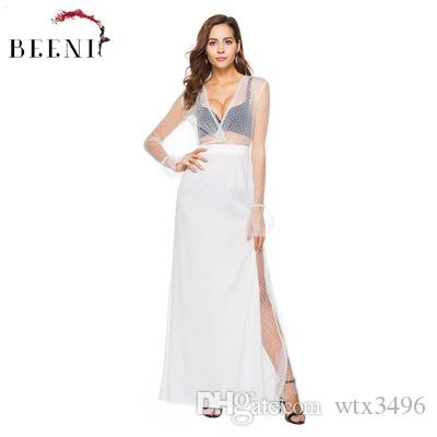 93e42ad0ac396 Women see through Lace grenadine Maxi dress Long sleeve Deep V-neck Sheer  Upper and Split Skirt Evening party gown
