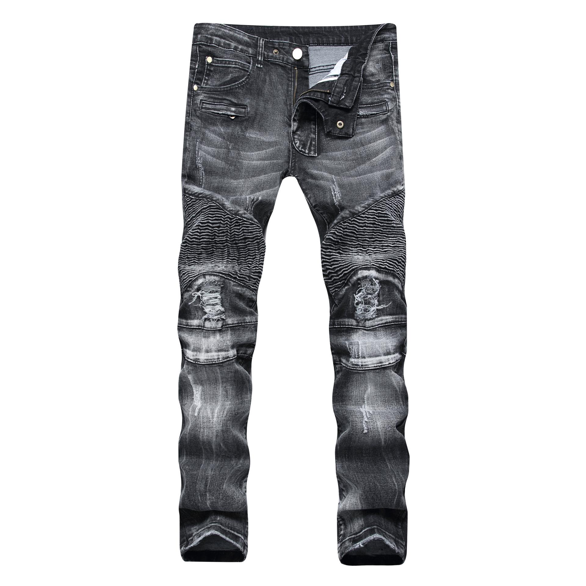 1a974aceded76 Menswear Men s Jeans Holes Jeans Grey Jeans High-street Pierced Zippers  Slimming Elastic Amazon Style Men s Trousers