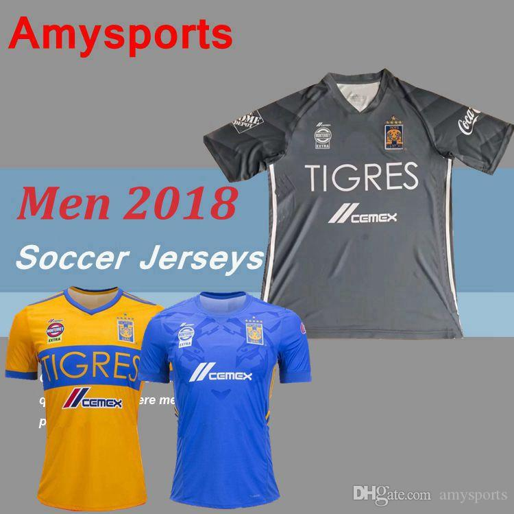 45da3ad8198 2018 NEW Tigres UANL Soccer Jerseys Thai Quality Men Kit 17 18 ...