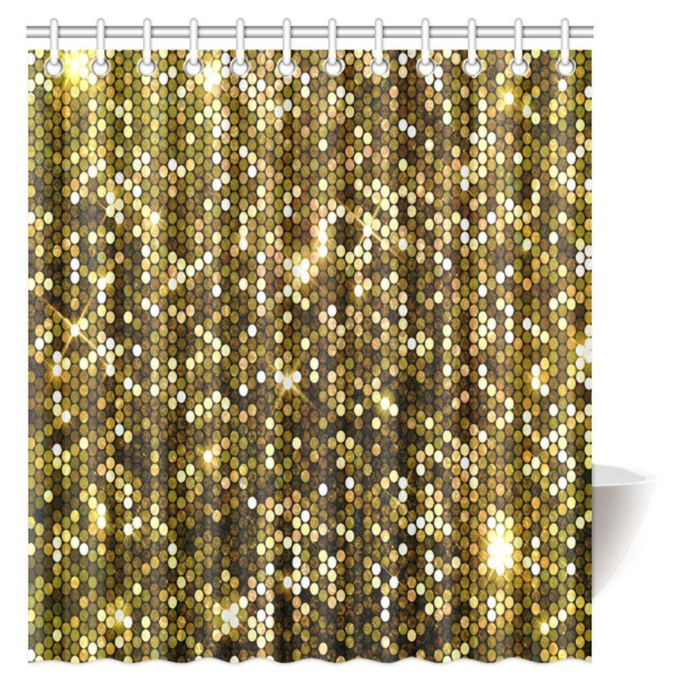 2018 Gold Sparkle Glitter Polyester Fabric Waterproof Bathroom Shower Curtain With Hooks From Caronline 3051