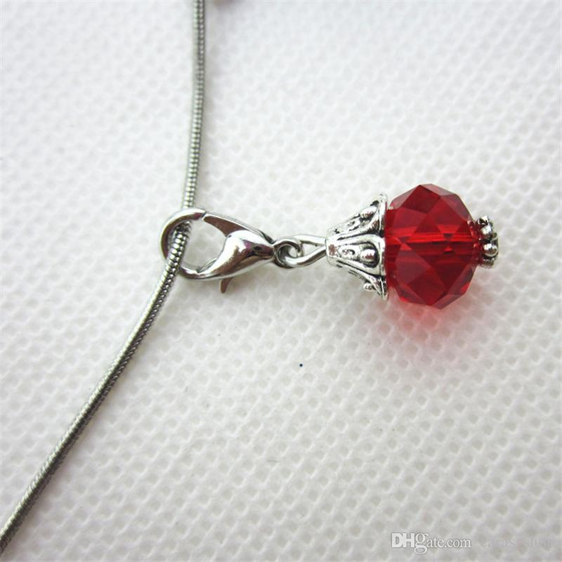 Sıcak satış 50 / adet gül kırmızı ay birthstone cam dangle lockets için dangle charms istakoz kapat charms