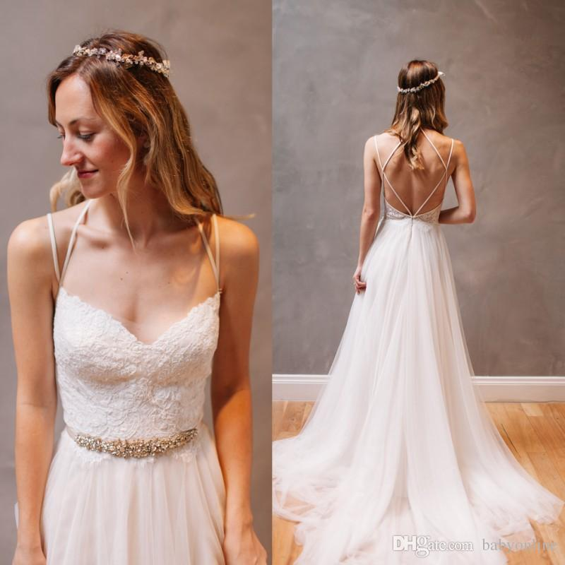 b79a5ae42427 Discount 2018 Simple A Line Summer Boho Beach Wedding Dresses Sexy Open  Back Spaghetti Straps Lace Appliques Beaded Sash Bridal Gowns Cheap Simple  Cheap ...