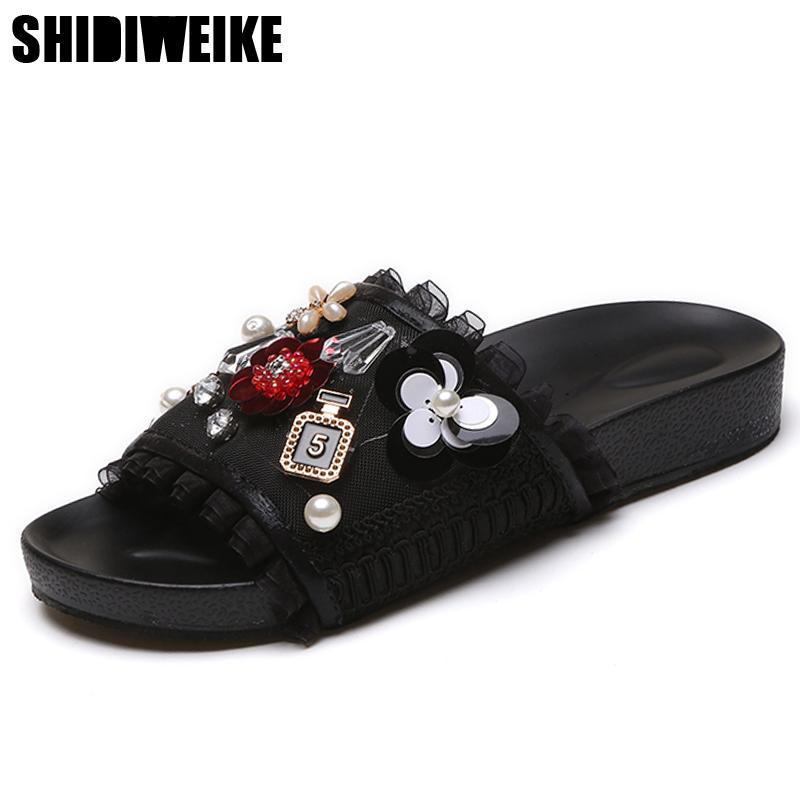 8a72cb899f9d Designer Hot 2018 New Summer Lolita Woman Mesh String Bead Rhinestone Flip  Flops Shoes Female Flat Sandals Slide Shoe Slippers Shoe Sale Suede Boots  From ...