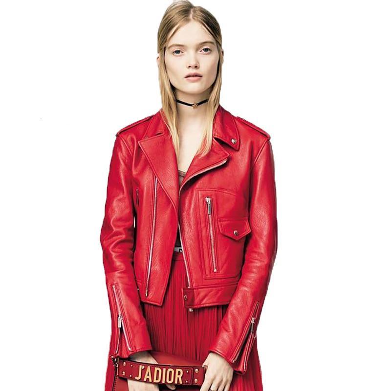 e7500283da1 2018 Female Red Genuine Leather Motorcycle Jacket Real Sheepskin Slim Fit  Women Winter Short Leather Biker Coat FREE SHIPPING