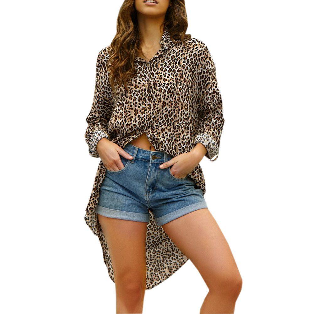438f043ce5 2019 Women Off Shoulder Leopard Printed Asymmetric T Shirts Long Sleeve  Tops Blouse T Shirt Women Poleras De Mujer Moda 2019 From Jamie22