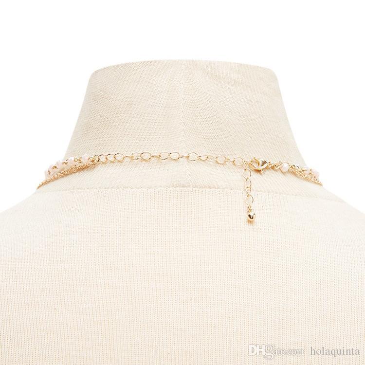 3 Camadas de Sol Colar de Pingente de Colar de Minimalista Acrílico Talão de Jóias de Moda de Ouro Colar de Corrente de Cor de Prata para As Mulheres