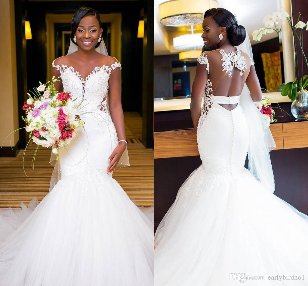 2018 New White Sheer Neck Capped Sleeves Lace Mermaid Wedding Dresses Gorgeous Appliqued Tulle Hollow Back African Bridal Gowns Unique: Gorgeous And Unique Wedding Dresses At Reisefeber.org