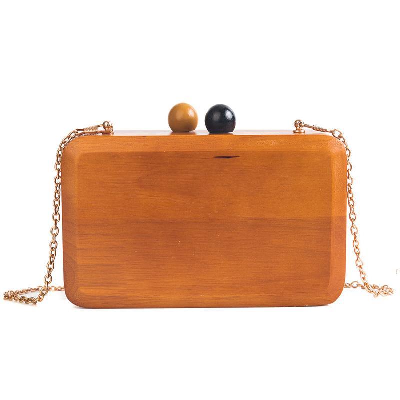 Evening Clutch Bag Wood Rectangle Chain Wallet Travel Crossbody ... 7225dada2a299
