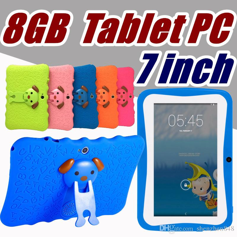 DHL Free Shipping Kids Brand Tablet PC 7 inch Quad Core childrent Android 4.4 Allwinner A33 real 8GB wifi protective cover L-7PB