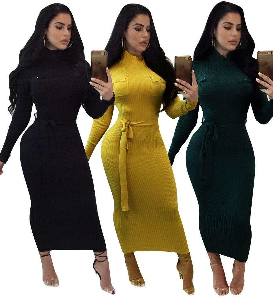 Designer Women Clothes Autumn Women Dresses Knitting Cotton Turtleneck  Dress Women Empire Two Pockets Mid Calf Sweater Dress Vestido Petite Dresses  Evening ... a15e894a3