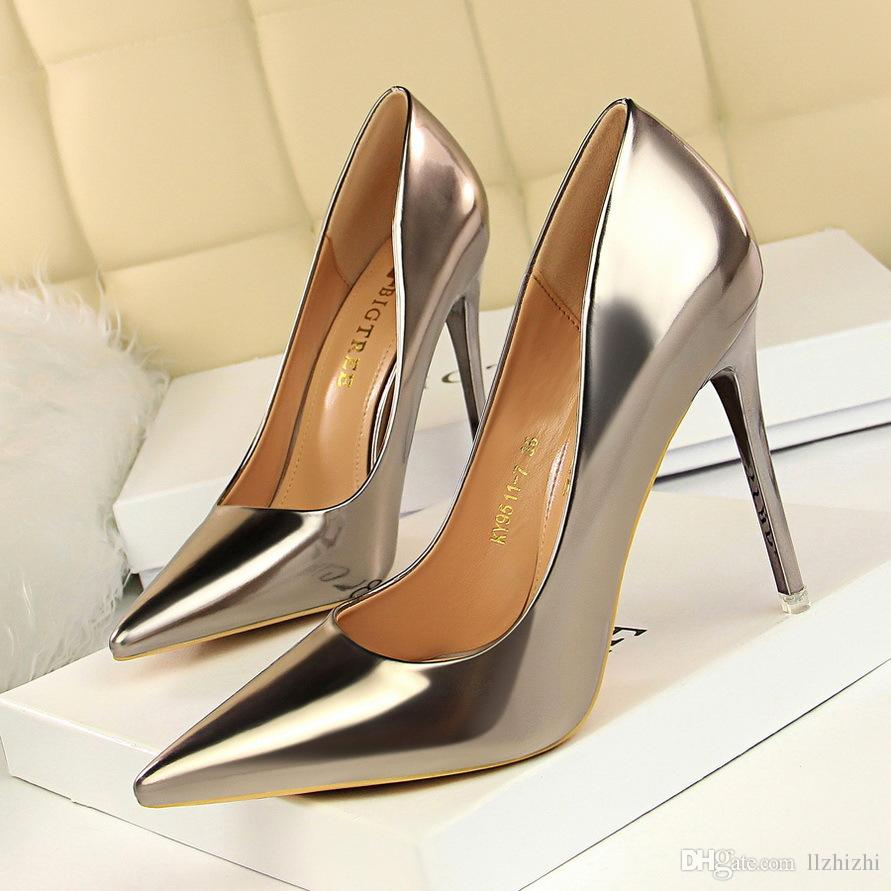 0dbf6e05543b European And American Fashion Metal Heel Shallow Mouthed Sexy Nightclubs  With Ultra High Heels More Than 8CMGenerous Women S Single Shoes. Flat Shoes  Online ...