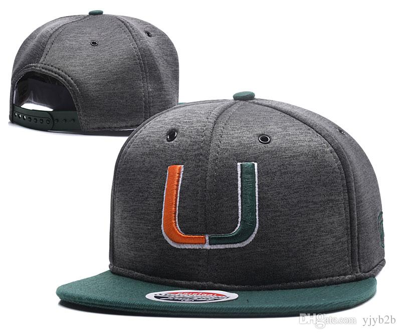 aa4fba03448 Wholesale Men S Miami Hurricanes Gray Top Green NCAA Snapback Hats USA  College Letter Logo Design Grey Baseball Design Bones Adjustable Caps Flat  Caps ...