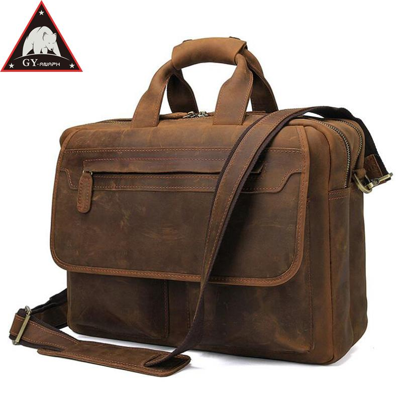 e45600276ce0 ANAPH Vintage Crazy Horse Briefcases For Men Business Thick Genuine Leather  Travel Bags With Flap Pockets Covers In Brown Mens Messenger Bags Mens Bags  From ...