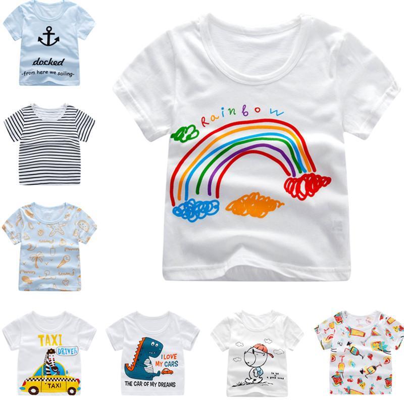 promo code 581f9 160b5 Großhandelsbabykleidung preiswerte T-Shirts Jungen übersteigt T-Stücke  Sommer Kurzarm T-Shirt Karikaturjungen-Mädchenhemd Kinderkleidung 2036