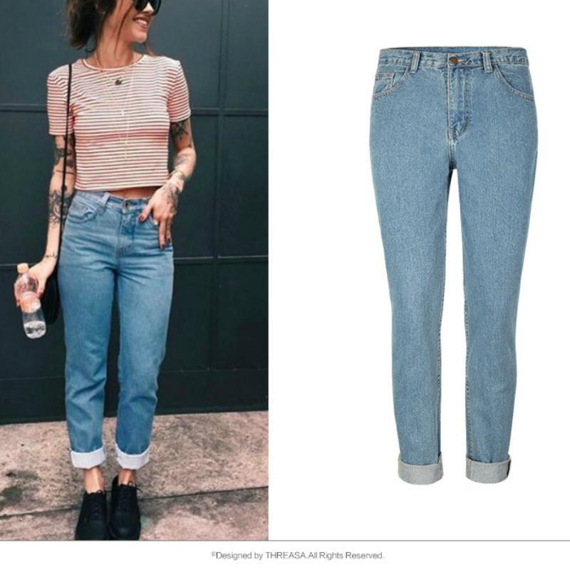 a9fa63895dc Compre Cintura Alta Streetwear Fashion Loose Jeans Mujeres Europa America  Blue Vintage Boyfriend Straight Pant Mujer Puños Casual Mom Jeans A  34.97  Del ...