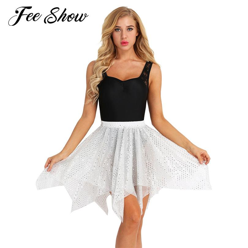 5ee20940f Mujeres Falda de danza latina para adultos Disfraz de danza del baile Falda  de lunares con estilo Faldas latinas asimétricas para el dobladillo de ...