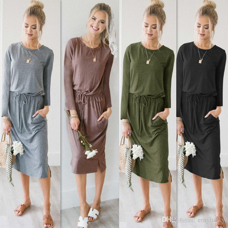 51d4bb21f6bb New Sexy Loose Shirt Midi Dresses Pockets Long Summer Dresses Long Sleeve  Lacing Waist Bodycon Loose Dress Cheap Formal Dresses Dress Designs From  Emylucky