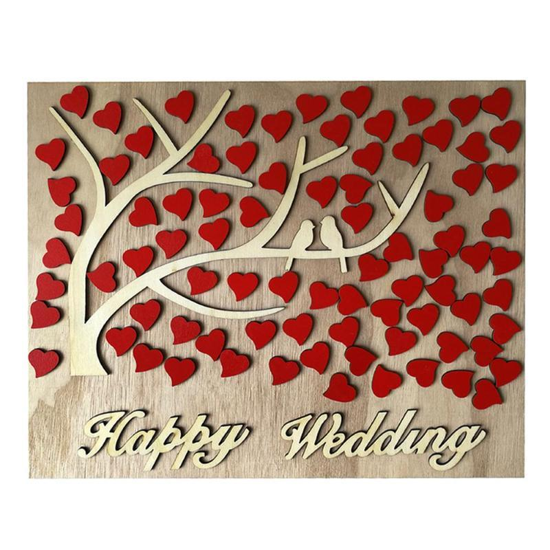 Diy Wooden Customs Letter Happy Wedding Heart Tree Guestbook Wedding Signature Guest Books