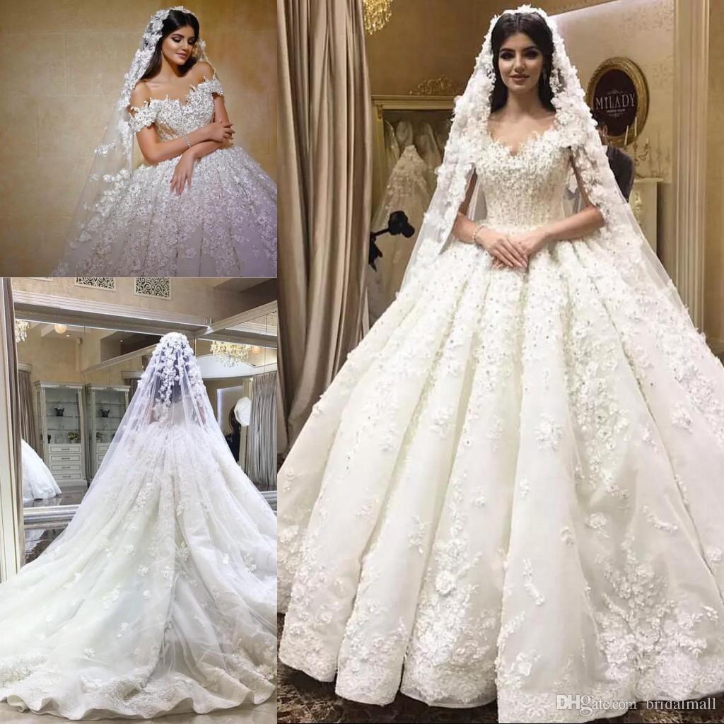 17fcd0035d9f Acquista Eleganti Perline Appliques Ball Gown Abiti Da Sposa 2019 Sexy Scollo  A V Strass Lace A Line Boho Abiti Da Sposa Custom Made Vestidos De Novia A  ...