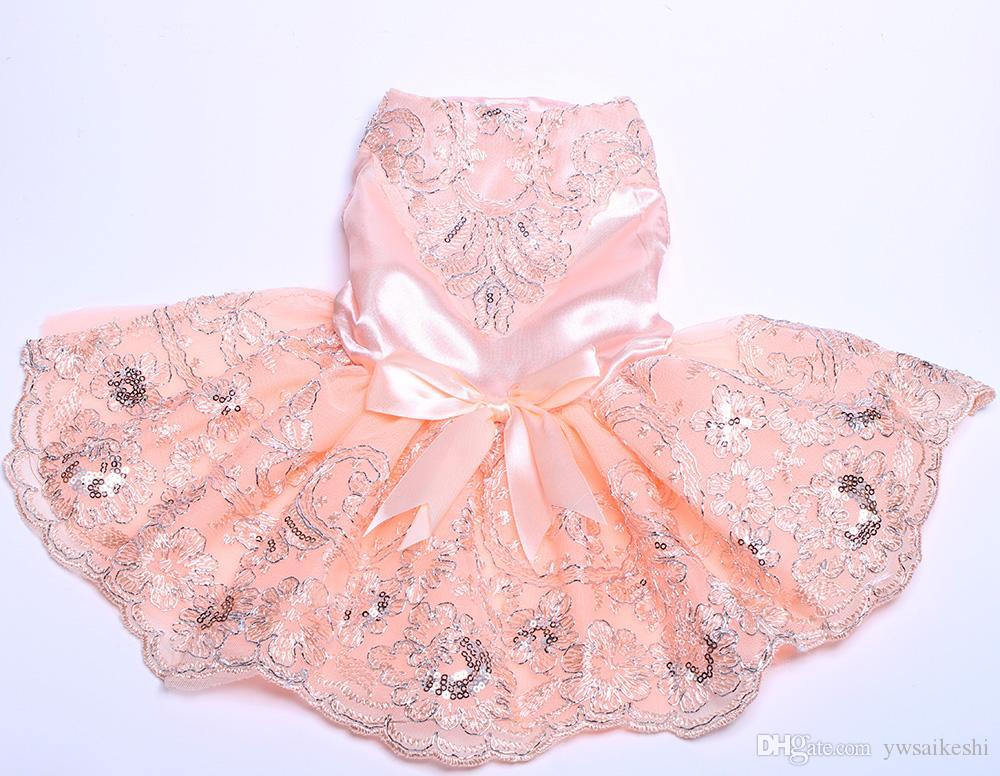 花のレースの犬のペットのウェディングドレスのスカートビッグボウ猫の子犬ドレス衣装のディナーパーティー