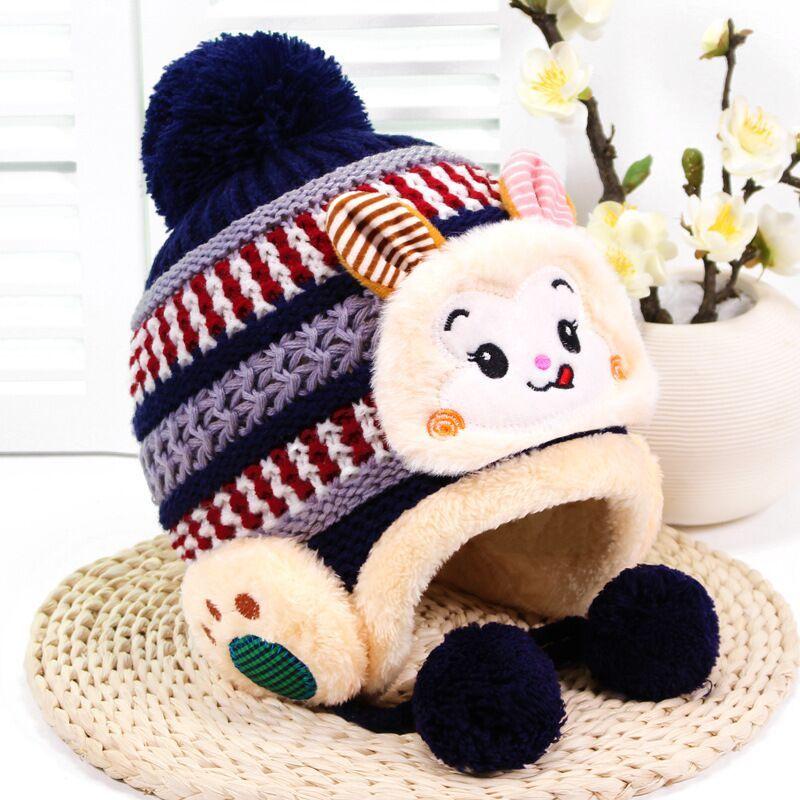Compre Niños Invierno Cálido Sombreros Chicas Niños Niños Ganchillo Cálido  Gorros Bufanda Conjunto Bebé Bonete Lindo Mono De Dibujos Animados Sombrero  Para ... 84de6c56e53