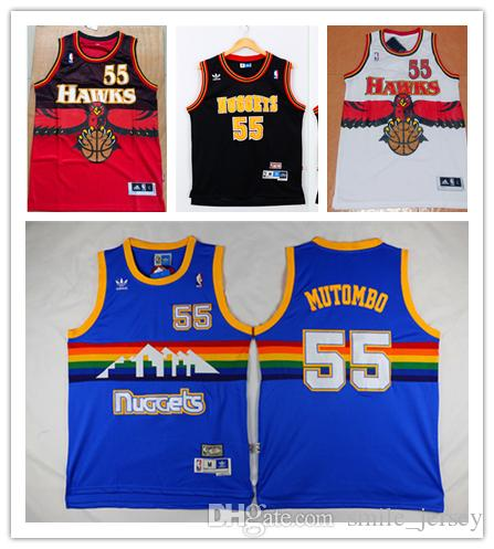 dbdd545f862 ... canada 2018 retro mens 55 dikembe mutombo denver nuggets basketball  jerseys stitched hardwood classic mesh dikembe